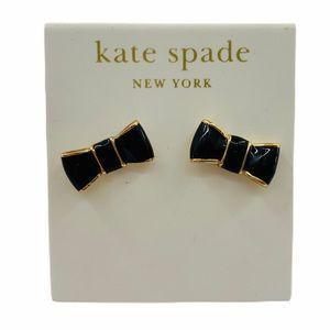 NWT Kate Spade Black Bow Earrings 14K Gold